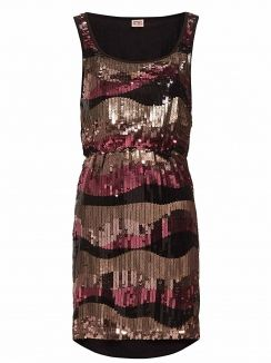Rochie paiete Sissi Sequin Brown Gold