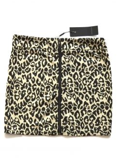 Fusta  animal print mini cu fermoar